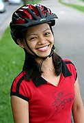 Young Woman in Bike  Helmet, Smiling