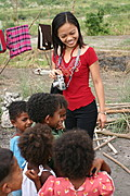 Female Talking with Aeta Kids in Pampanga