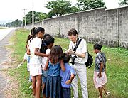 Chris Jotting Down Names of Aeta Kids in the Philippines
