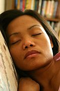Close-Up of Asian Woman Sleeping