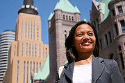 Asian Woman Outside Minneapolis City Hall