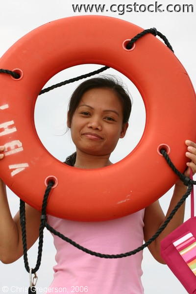 Woman and Life Preserver