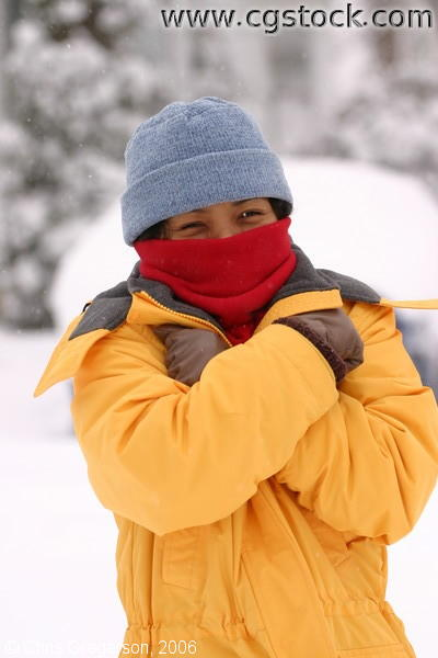 Asian Woman out in the Cold