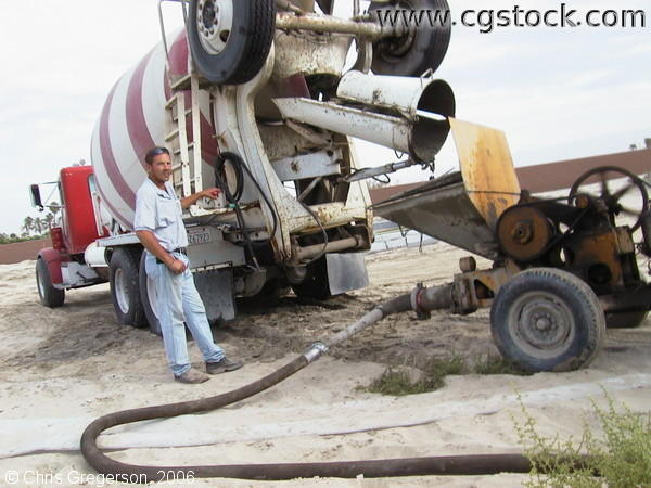 Marc Dumping Cement from his Mixer