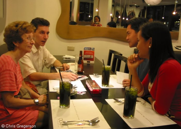 Chris Gregerson and Mother having dinner with in-laws-to-be in Manila.